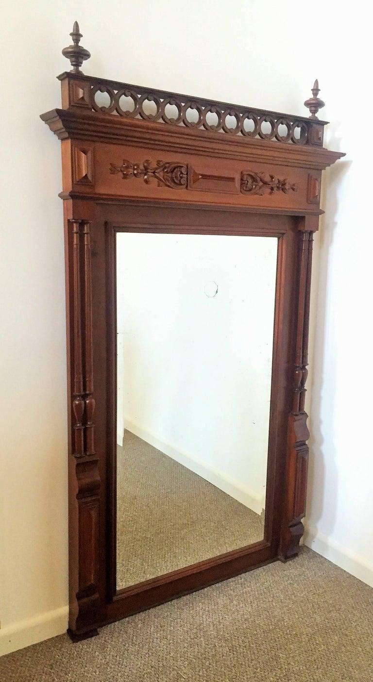 Original Victorian mahogany tall pier mirror.  Dimensions 51.0