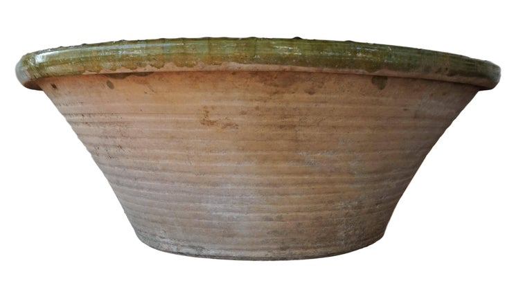 19th Century Spanish Hand Thrown and Glazed Green Stoneware Pottery Bowl For Sale 2