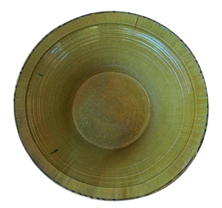 Clay 19th Century Spanish Hand Thrown and Glazed Green Stoneware Pottery Bowl For Sale