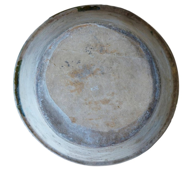 19th Century Spanish Hand Thrown and Glazed Green Stoneware Pottery Bowl For Sale 4