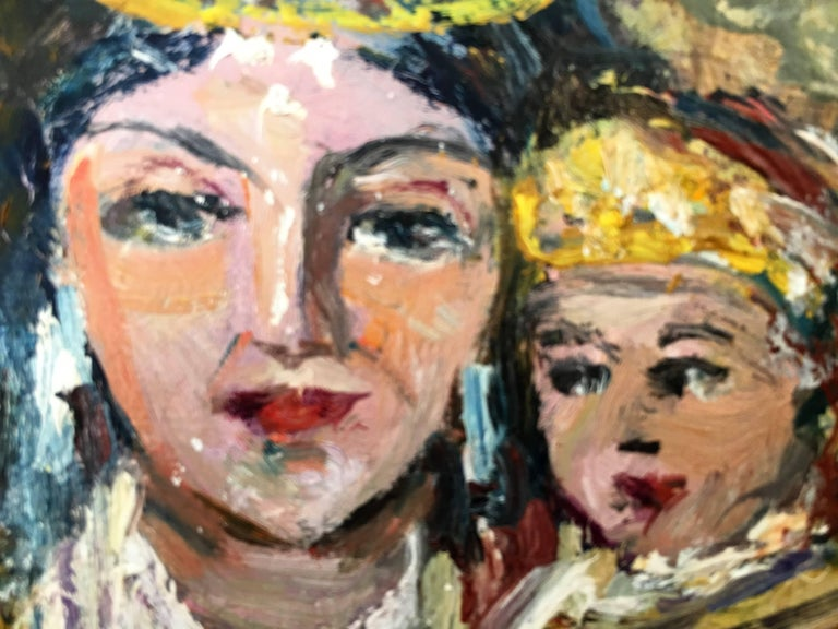 Spanish 20th Century Oil Painting of Madonna and Child by Arnedo Linares, Spain For Sale