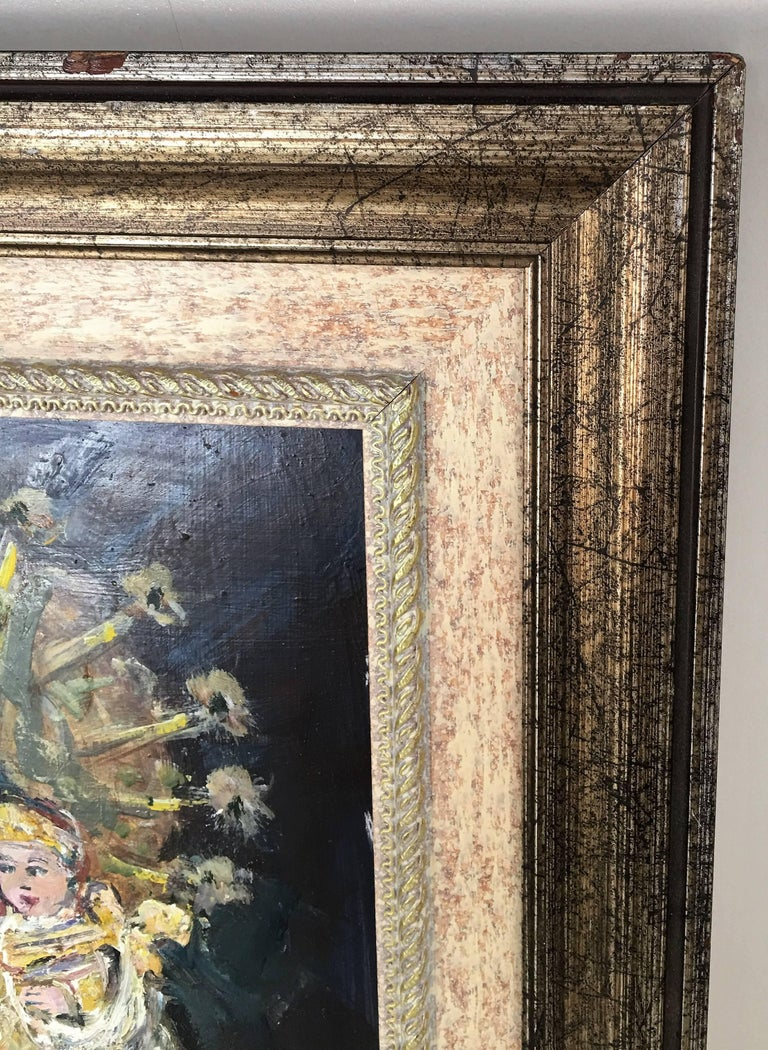 20th Century Oil Painting of Madonna and Child by Arnedo Linares, Spain For Sale 3