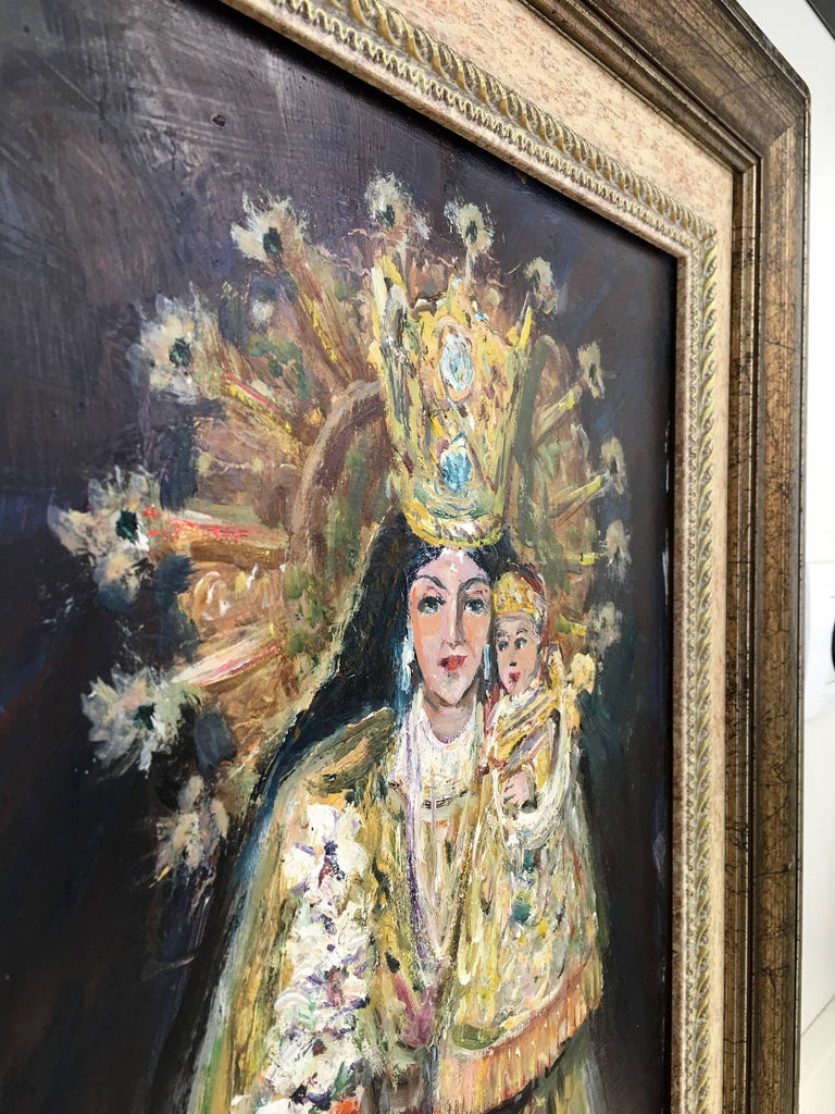 20th Century Oil Painting of Madonna and Child by Arnedo Linares, Spain (1925-2011) This oil depicting the
