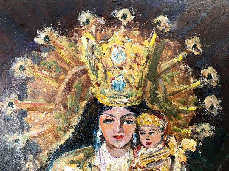 Modern 20th Century Oil Painting of Madonna and Child by Arnedo Linares, Spain For Sale