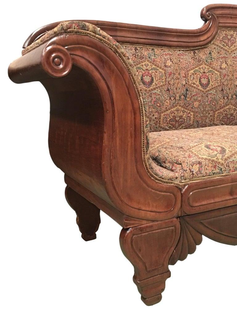 Elizabethan French Carved Walnut Bench, Sofa, Daybed Upholstered in Original Damask For Sale