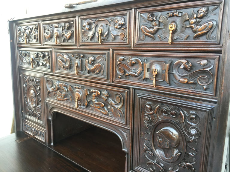 19th Century 18th Century Spanish Baroque Style Cabinet on Stand, Bargueno or Varqueno For Sale