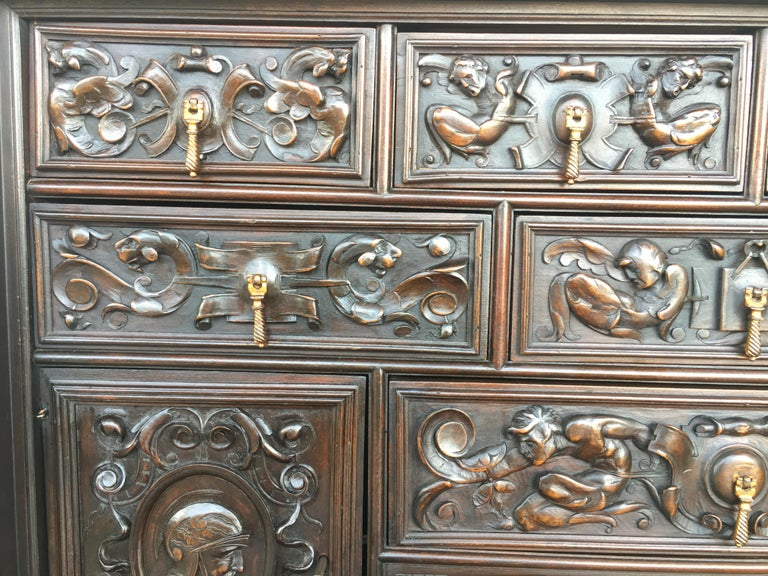 18th Century Spanish Baroque Style Cabinet on Stand, Bargueno or Varqueno For Sale 1