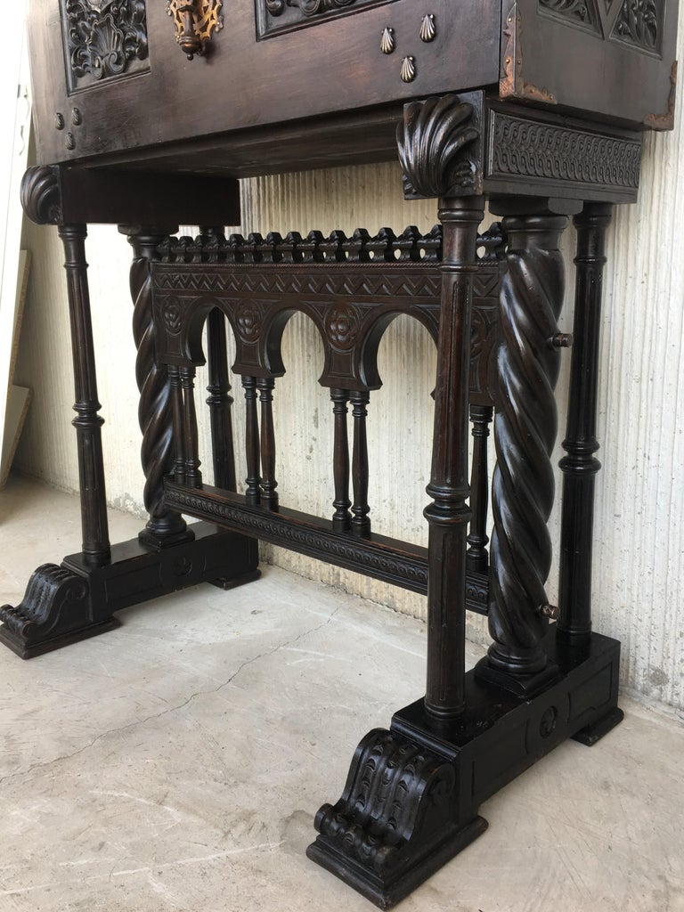 18th Century Spanish Baroque Style Cabinet on Stand, Bargueno or Varqueno For Sale 5