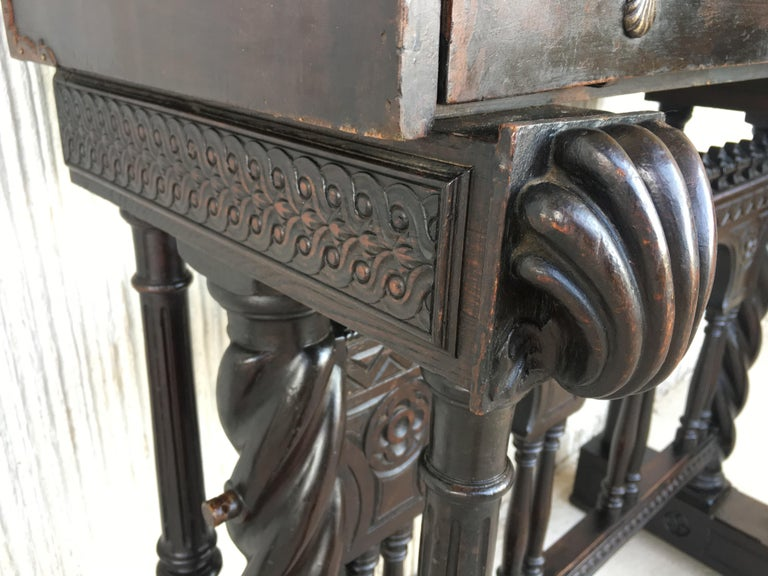 18th Century Spanish Baroque Style Cabinet on Stand, Bargueno or Varqueno For Sale 9