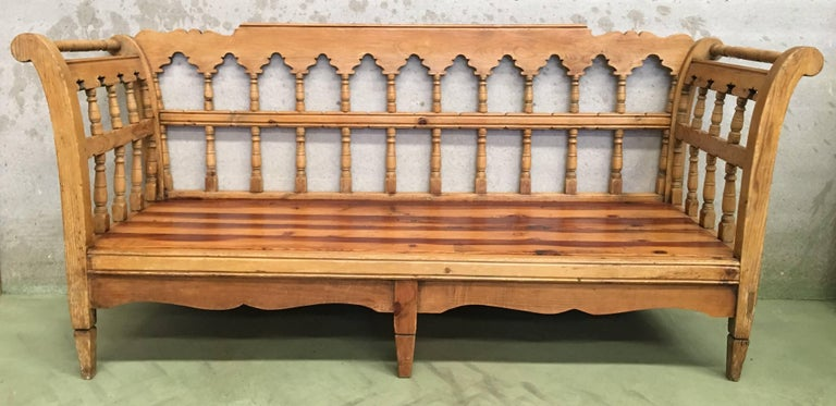 Spanish 19th Century Large Pine Country Bench or Daybed For Sale