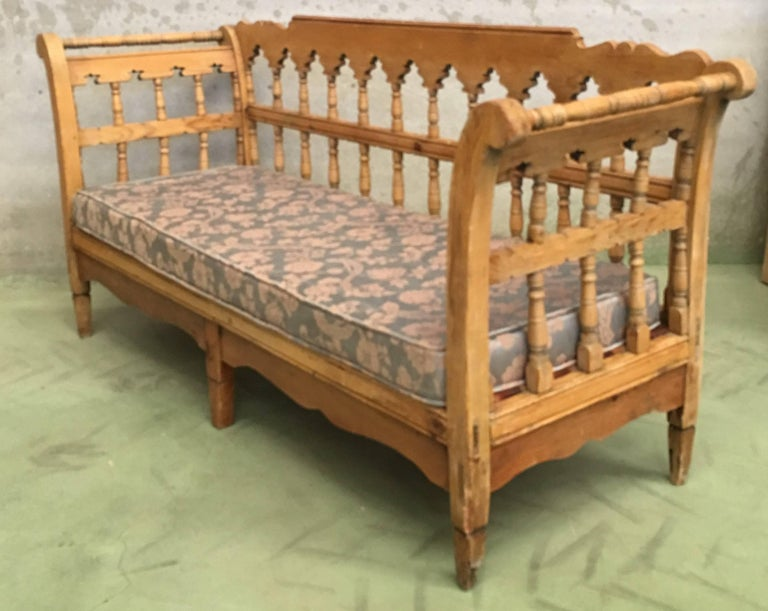 Large rustic Swedish pine bench / daybed, circa 1850. Very heavy item. Ideal for a summer house or garden room.