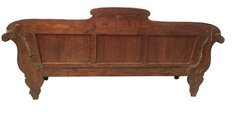 French Carved Walnut Bench, Sofa, Daybed Upholstered in Original Damask For Sale 3