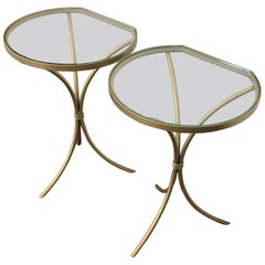 Pair of Italian Midcentury Glass and Brass Tripod Side, End or Nightstands