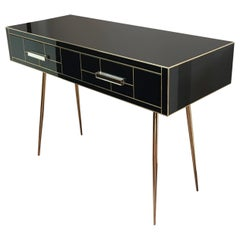 Italian Edizioni Two-Drawer Mirrored and Brass Writing Desk, Mid-Century Modern