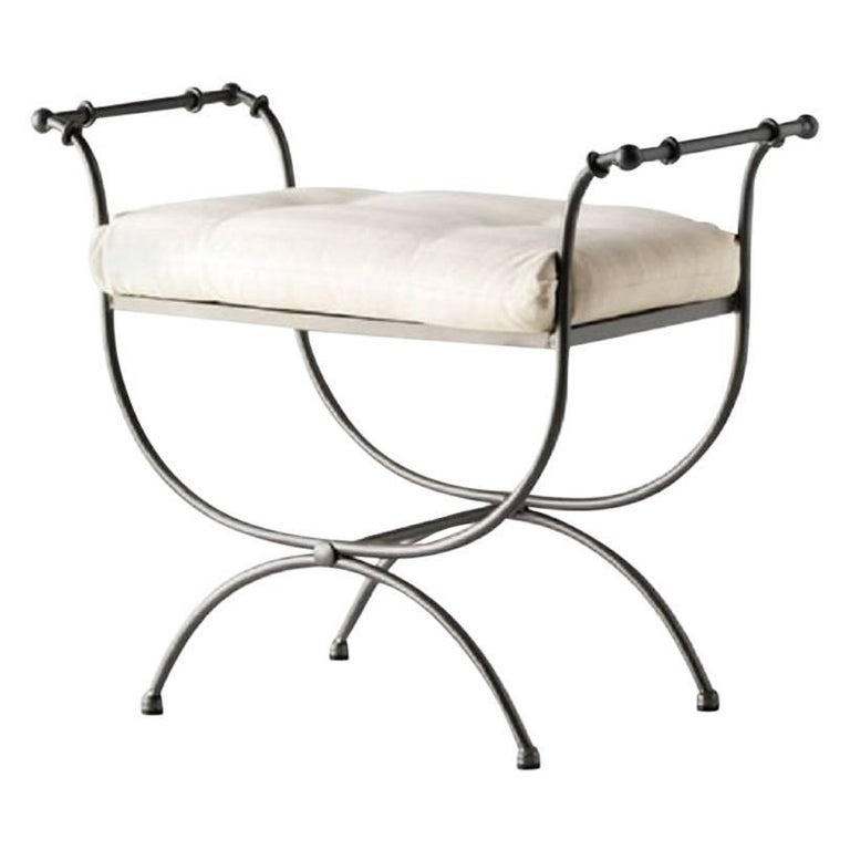 New Black Wrought Iron Curule Bench with Cushion, Savonarola, Throne