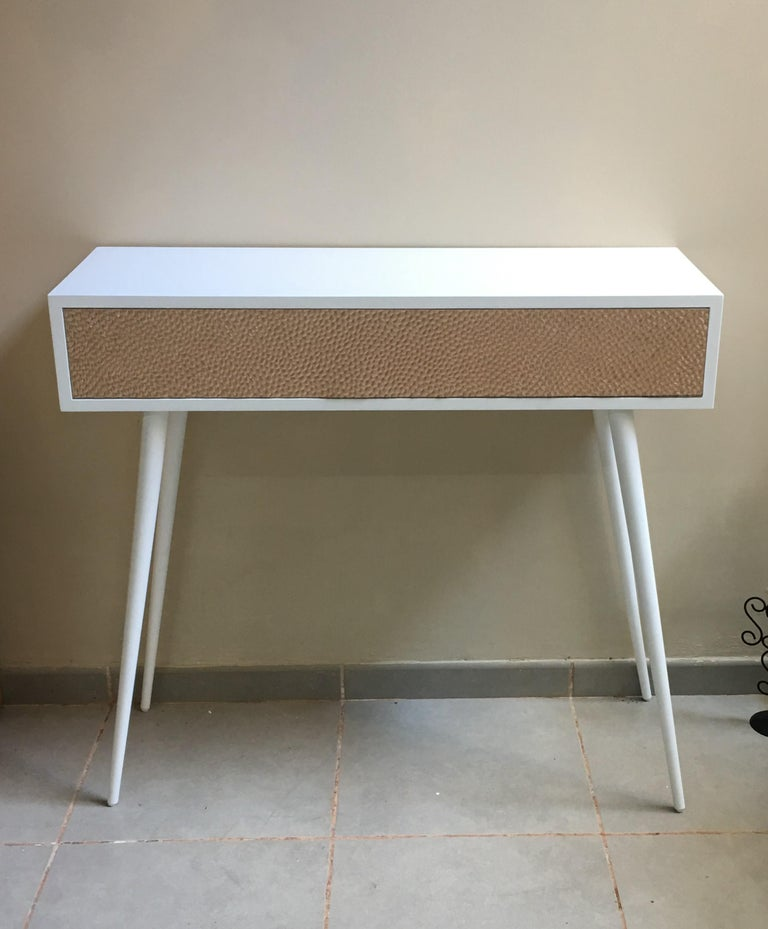 New Pink Relief Metal And White Lacquered Wood Console Table With Drawer Handmade Unique Piece