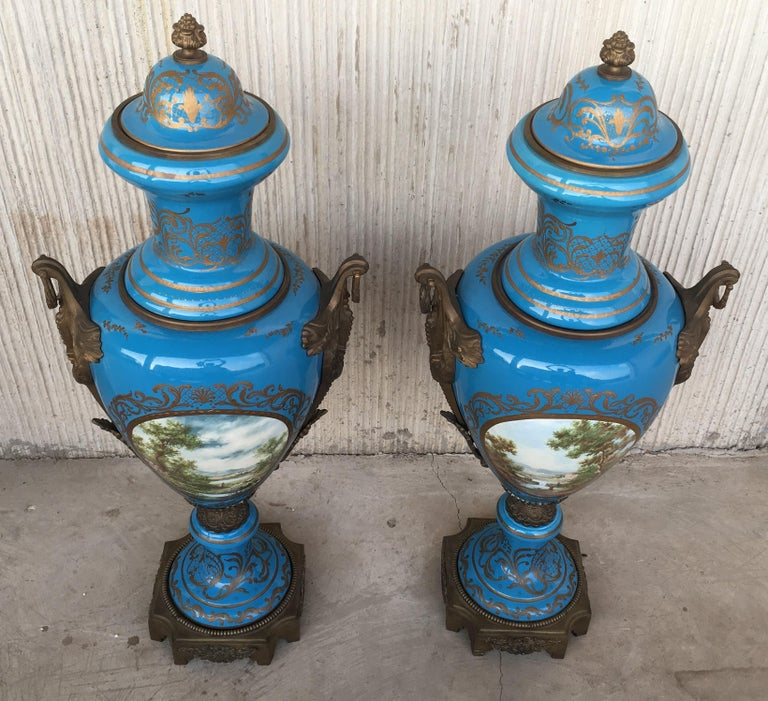 Pair of Large Antiques French Ormolu-Mounted & Painted Pair of Sèvres Porcelain In Excellent Condition For Sale In Miami, FL