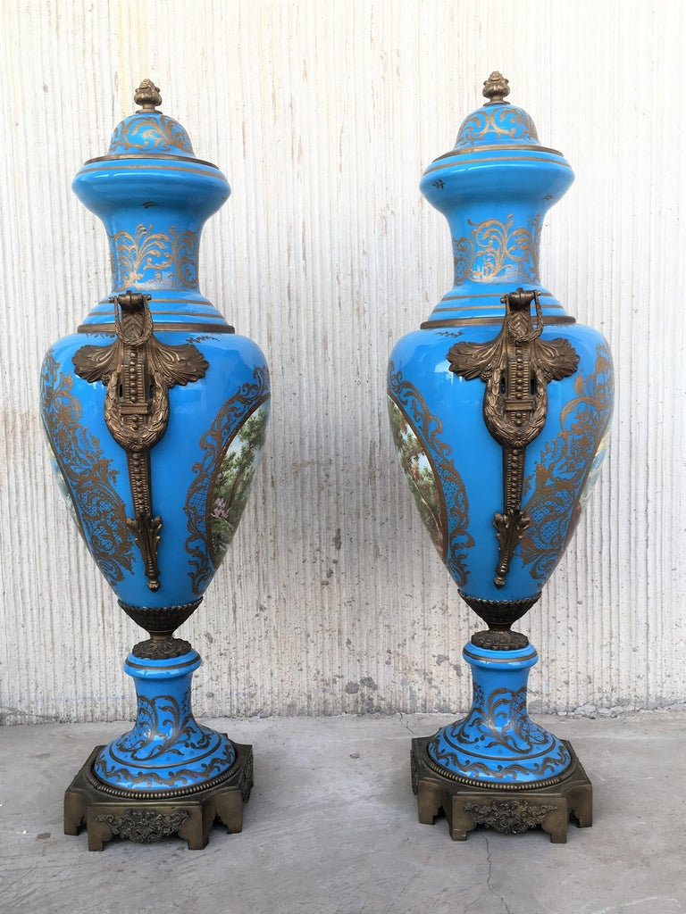 Neoclassical Pair of Large Antiques French Ormolu-Mounted & Painted Pair of Sèvres Porcelain For Sale