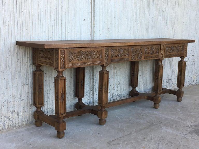 Baroque 19th Century Spanish Carved Walnut Bench or Low Table with Two Drawers For Sale