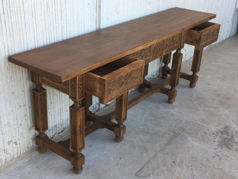 19th Century Spanish Carved Walnut Bench or Low Table with Two Drawers For Sale 1