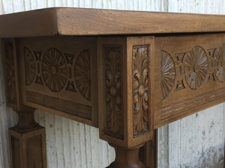 19th Century Spanish Carved Walnut Bench or Low Table with Two Drawers For Sale 2