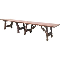 Early 19th Century French Baroque Style Walnut Trestle Dining Farm Table 163´