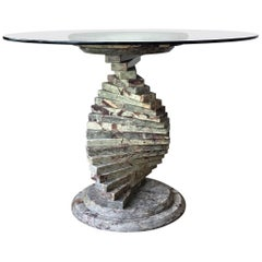 20th Century French Art Deco Pedestal Marble Dining or Coffee Table