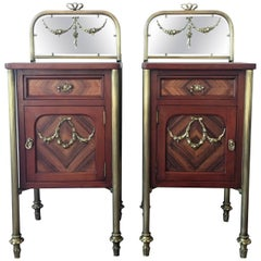 Pair of Marquetry Art Deco Nightstands with Glass Crest and Bronze Legs