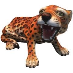 Italian Glazed Terracotta Baby Leopard Figure