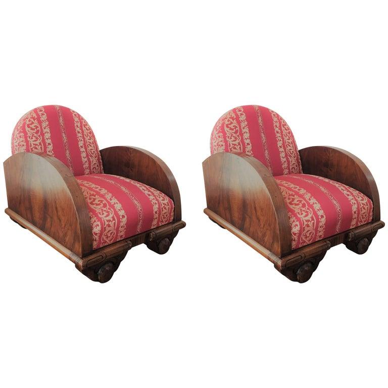 Pair of Swedish 1930s Art Deco Box Club Chairs