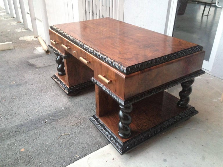 European Important Art Deco Desk Table in Walnut with Black Glass Top For Sale