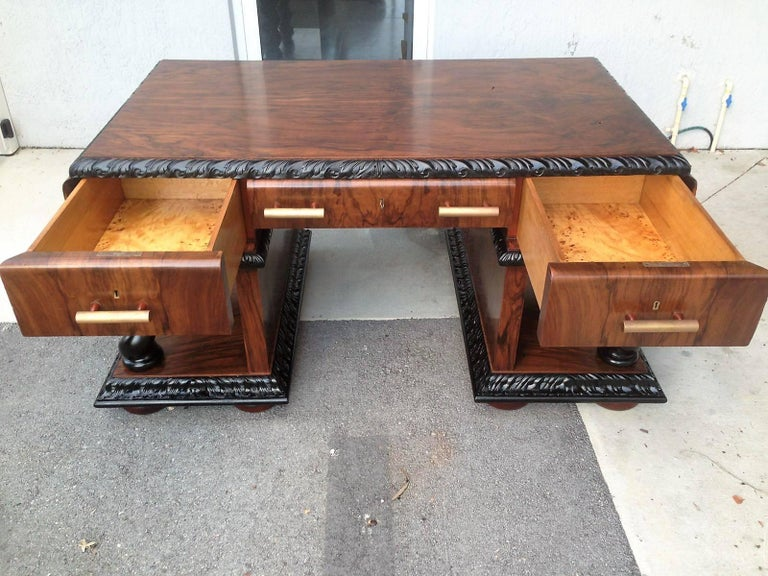 19th Century Important Art Deco Desk Table in Walnut with Black Glass Top For Sale
