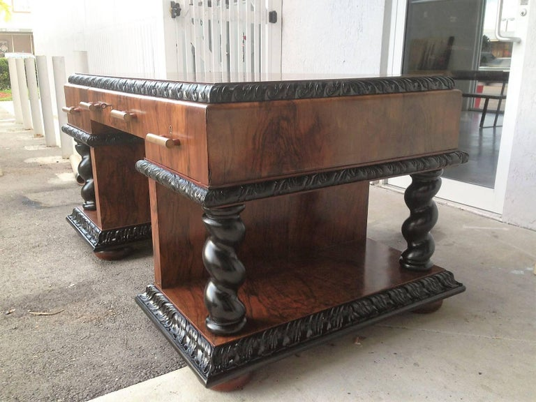 Important Art Deco Desk Table in Walnut with Black Glass Top For Sale 2