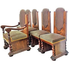 20th Art Deco Set of Armchair and Four Dining Chairs
