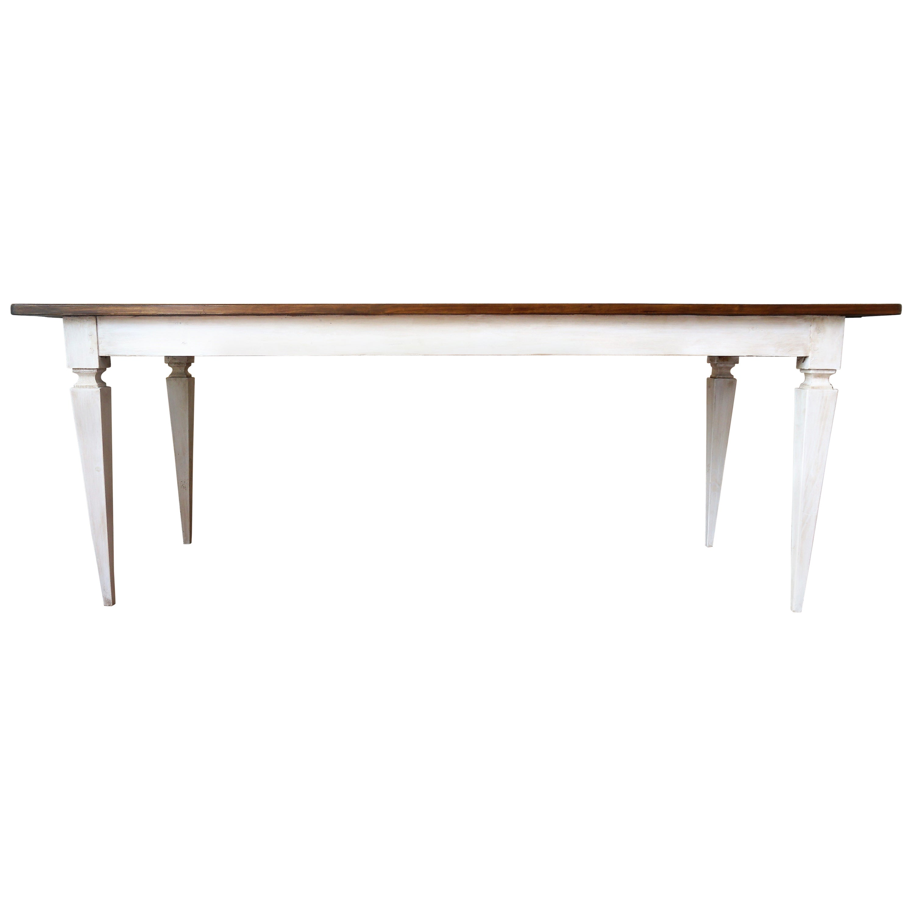 20th French White Painted Dining Farm Table
