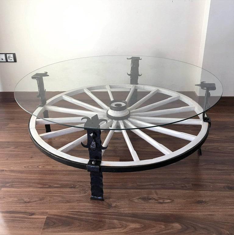 Baroque 20th Century Glass Top Wooden Wagon White Wheel Accent Spanish Farm Table For Sale