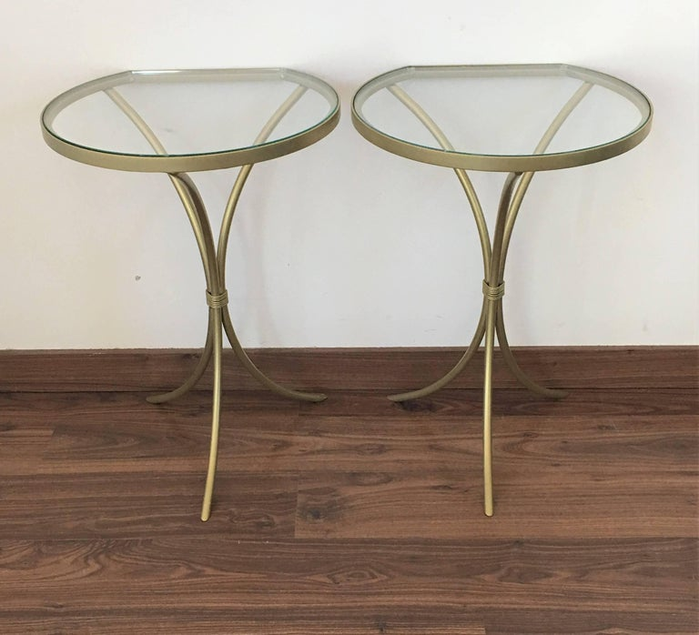 Contemporary Pair of Italian Midcentury Glass and Brass Tripod Side, End or Nightstands