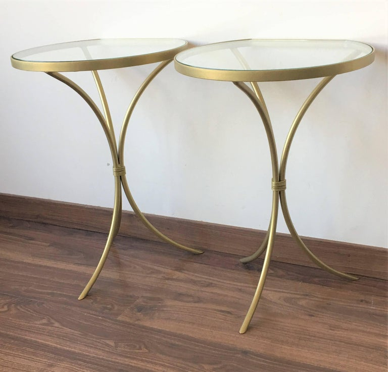 Pair of Italian Midcentury Glass and Brass Tripod Side, End or Nightstands 1
