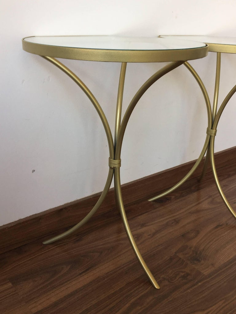 Pair of Italian Midcentury Glass and Brass Tripod Side, End or Nightstands 3