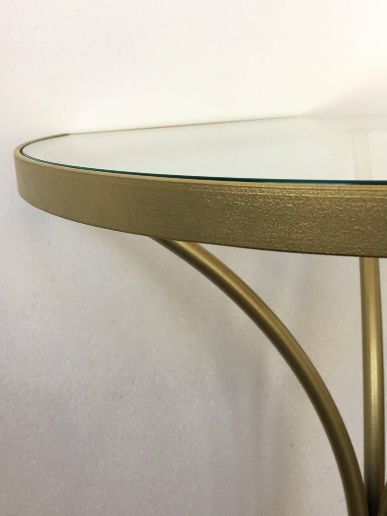 Pair of Italian Midcentury Glass and Brass Tripod Side, End or Nightstands 5