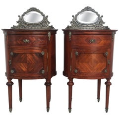 20th Louis XVI Style Marquetry Nightstands with Metal and Mirror Crest. A pair