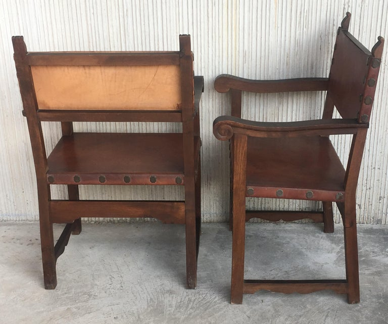 Pair of 19th Century Spanish Colonial Style Carved Armchairs with Leather For Sale 4