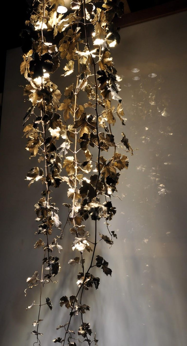 Modern New Chandelier Pendant Lamp in Bronze Featuring a Wine Leaves For Sale