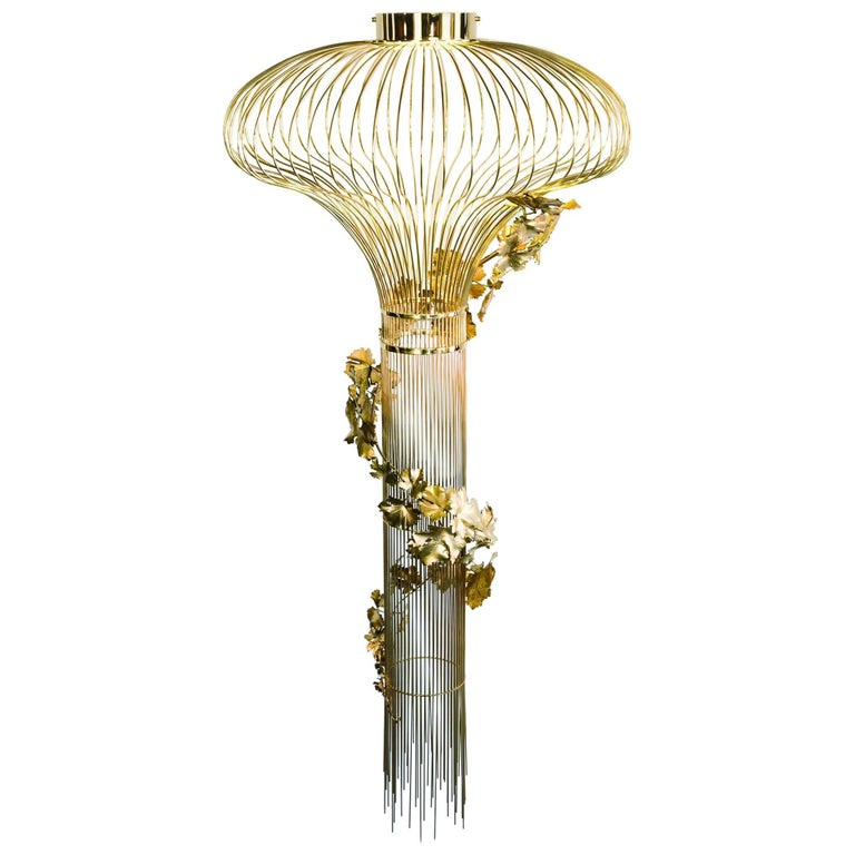 Contemporary 21st Century Sculptural Modern Handmade Led Chandelier in Brass and Lost Wax For Sale