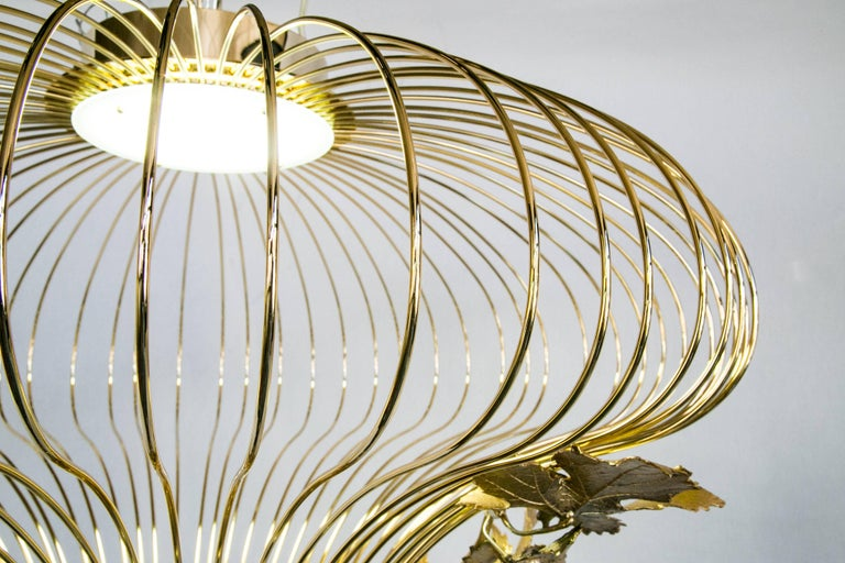 21st Century Sculptural Modern Handmade Led Chandelier in Brass and Lost Wax For Sale 1