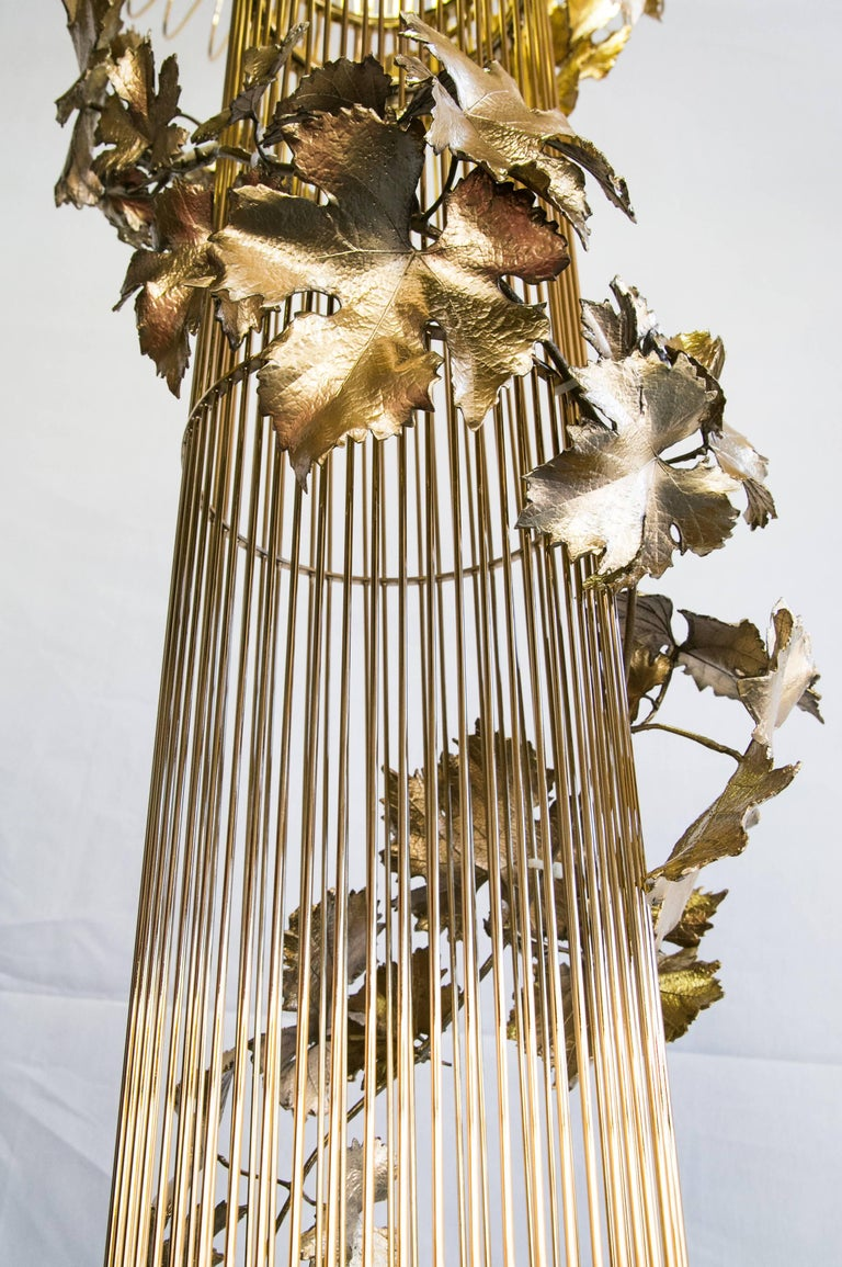 21st Century Sculptural Modern Handmade Led Chandelier in Brass and Lost Wax For Sale 6