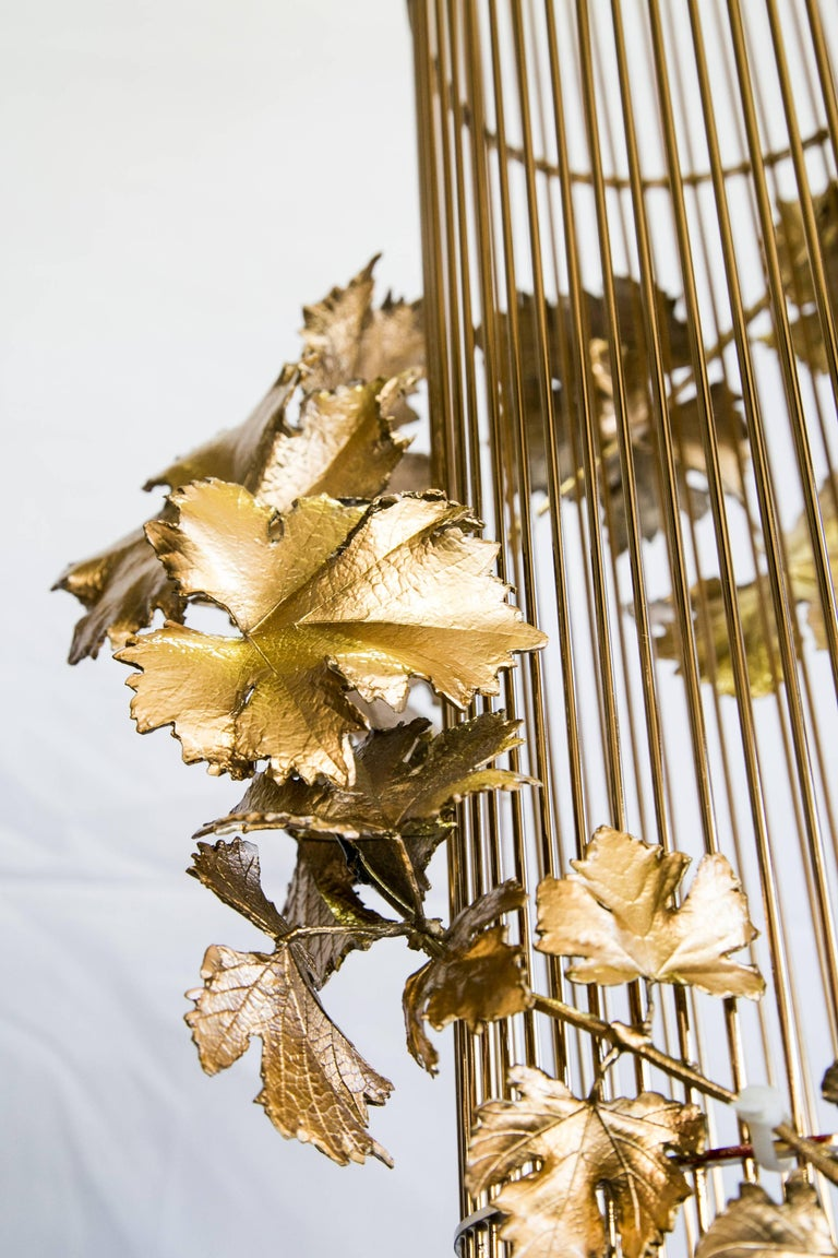 21st Century Sculptural Modern Handmade Led Chandelier in Brass and Lost Wax For Sale 3
