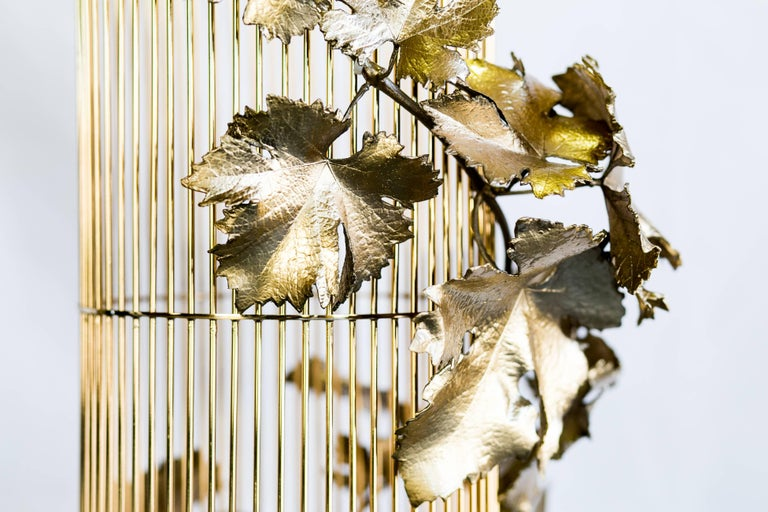 21st Century Sculptural Modern Handmade Led Chandelier in Brass and Lost Wax For Sale 8