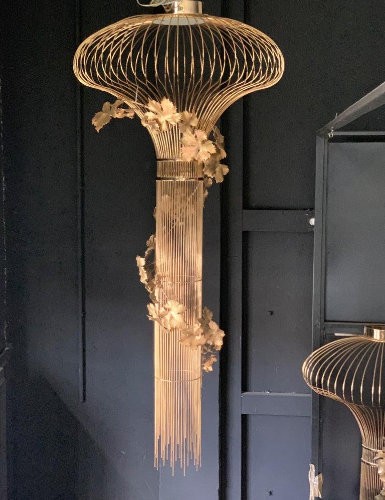 Brass 21st Century Sculptural Modern Handmade Led Chandelier in Steel Chrome For Sale