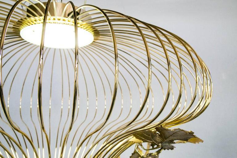 21st Century Sculptural Modern Handmade Led Chandelier in Steel Chrome For Sale 5